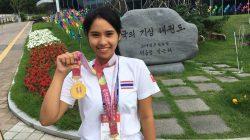 นักศึกษาศูนย์ฯลำปางรับรางวัลจากการแข่งขันเทควอนโด ณ งาน The 11th World Teakwondo Culture Expo เกาหลีใต้