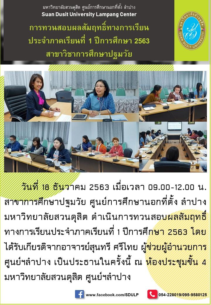 การทวนสอบผลสัมฤทธิ์ทางการเรียนประจำภาคเรียนที่ 1 ปีการศึกษา 2563 สาขาวิชาการศึกษาปฐมวัย